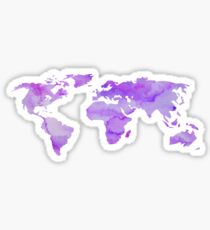 Purple Watercolor World Map Sticker