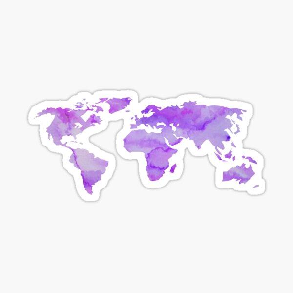 Purple Watercolor World Map Sticker