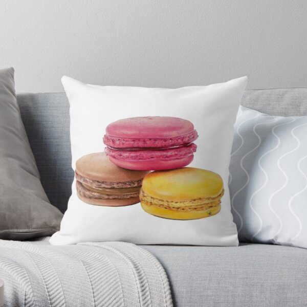 3 Macarons Throw Pillow