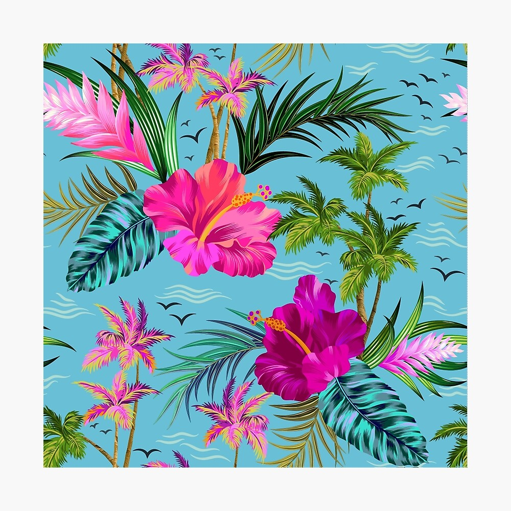 Hello Hawaii, a stylish retro aloha pattern. Photographic Print