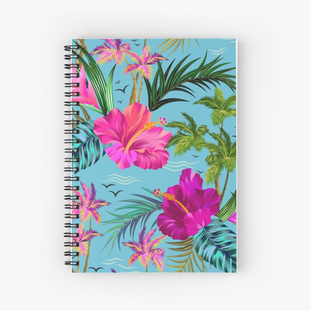 Hello Hawaii, a stylish retro aloha pattern. Spiral Notebook