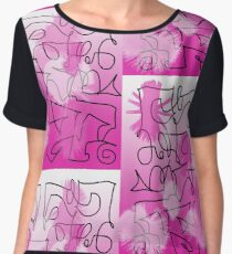 """Pink & Black Graffiti""  Chiffon Top"