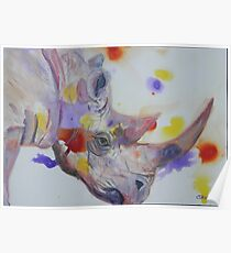 Purple Black Rhino Poster