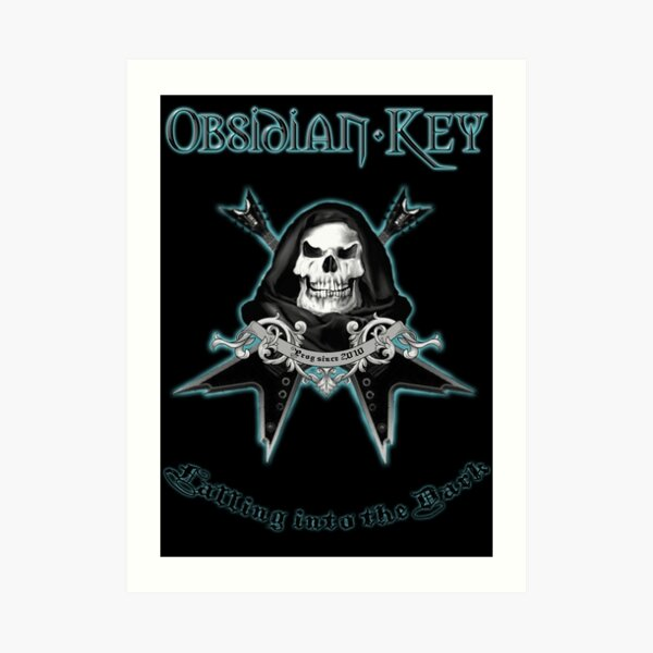 Obsidian Key - Falling Into The Dark - Skull, Guitars Art Print