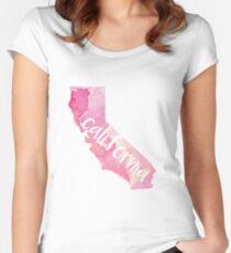 California - pink watercolor, handwritten Women's Fitted Scoop T-Shirt