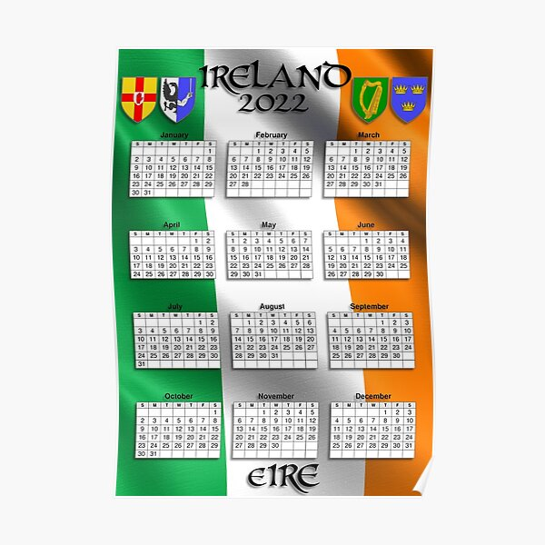Irish Calendar 2022 - Ireland Flag Poster