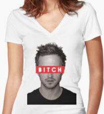 Jesse Pinkman - Bitch. Women's Fitted V-Neck T-Shirt