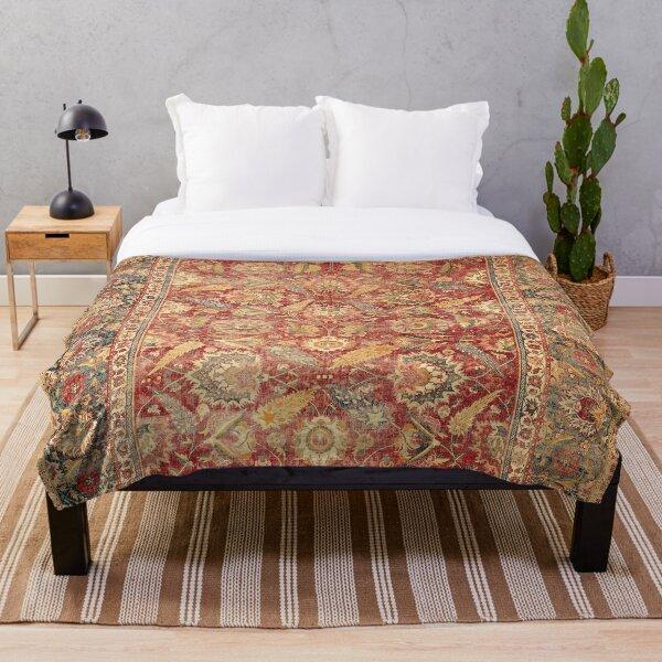 17th Century Indian Carpet Print Throw Blanket