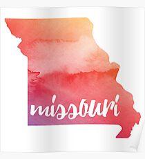 Missouri - sunrise watercolor  Poster