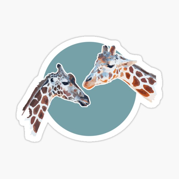 Amazing Animals: Totally Adorable Twin Baby Giraffes on Blue Circle Sticker