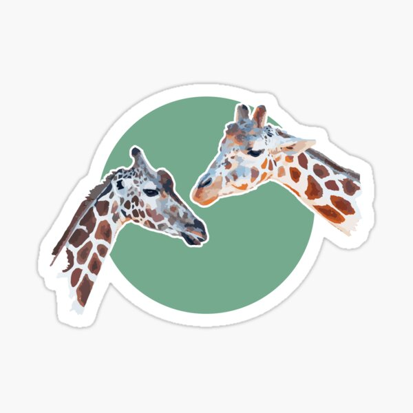 Amazing Animals: Totally Adorable Twin Baby Giraffes on Green Circle Sticker