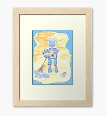 Blue Robot on Blue Framed Print