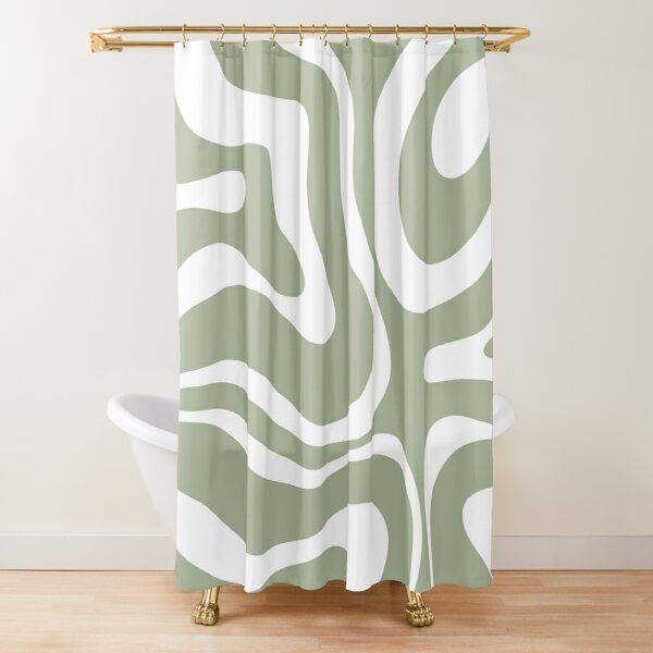 Retro Modern Liquid Swirl Abstract Pattern Square in Sage Green and White Shower Curtain