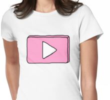 Pink YouTube logo Womens Fitted T-Shirt