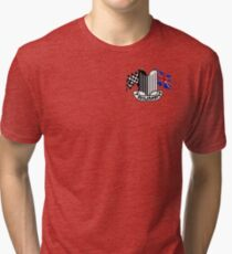 Triumph Shield with Checkered Racing and British Flag Tri-blend T-Shirt
