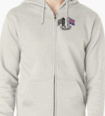 Triumph Shield with Checkered Racing and British Flag Zipped Hoodie