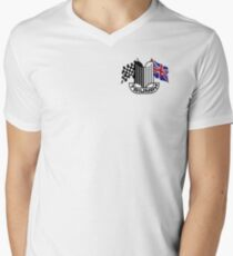 Triumph Shield with Checkered Racing and British Flag Men's V-Neck T-Shirt