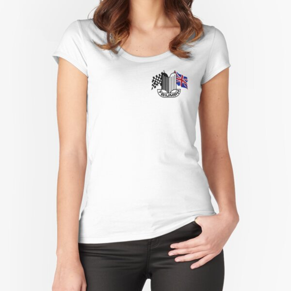 Triumph Shield with Checkered Racing and British Flag Fitted Scoop T-Shirt