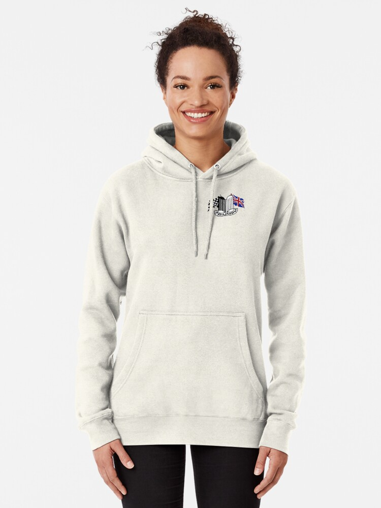 Alternate view of Triumph Shield with Checkered Racing and British Flag Pullover Hoodie