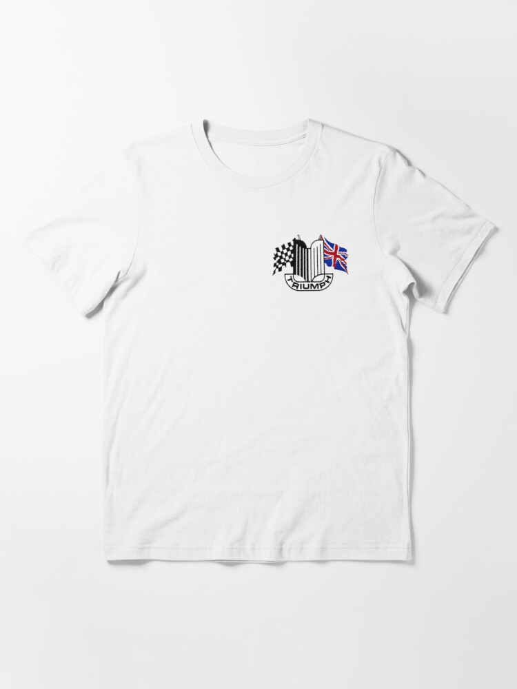 Alternate view of Triumph Shield with Checkered Racing and British Flag Essential T-Shirt