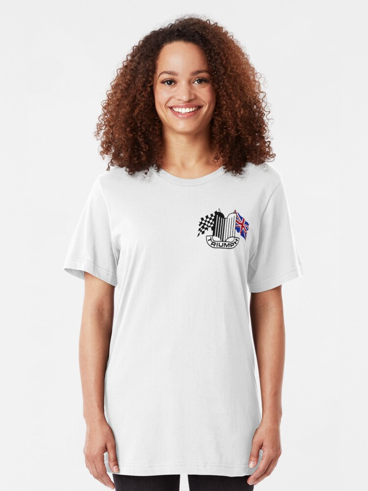 Alternate view of Triumph Shield with Checkered Racing and British Flag Slim Fit T-Shirt