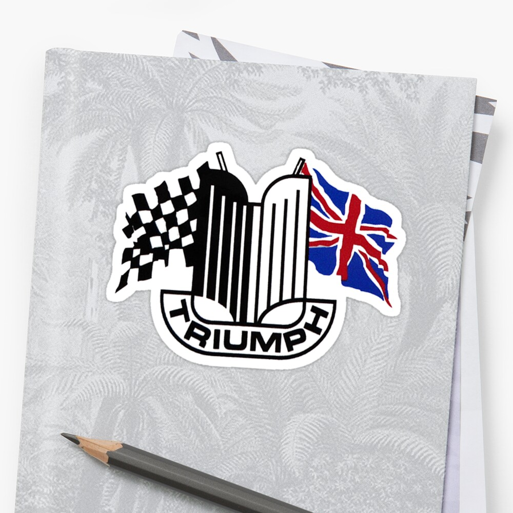 Triumph Shield with Checkered Racing and British Flag Sticker
