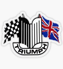 Triumph Shield with Checkered Racing and British Flag Transparent Sticker