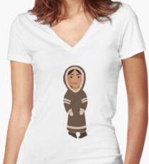Inuit Girl Women's Fitted V-Neck T-Shirt