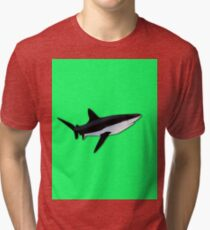 Great White Shark  on Acid Green Fluorescent Background Tri-blend T-Shirt