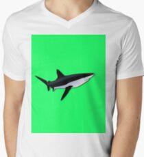 Great White Shark  on Acid Green Fluorescent Background Mens V-Neck T-Shirt