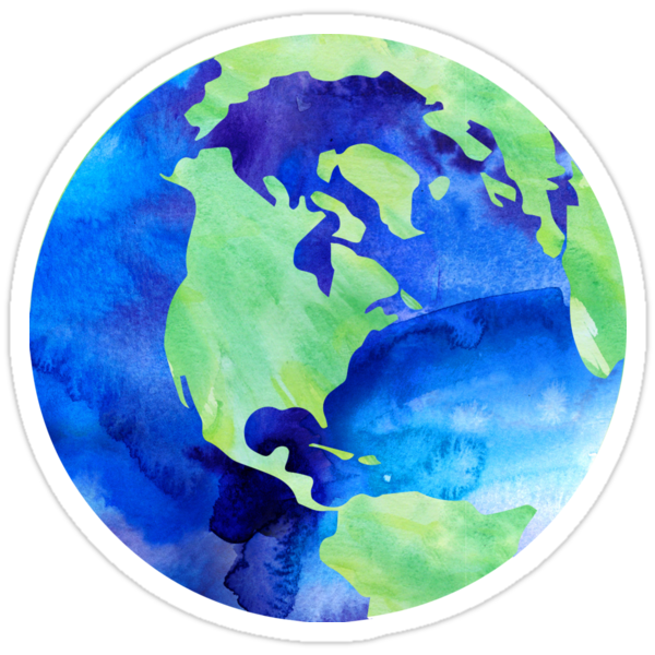 Quot Watercolor World Quot Stickers By Kayceedesigns Redbubble