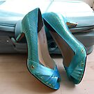 Aqua blue shoes  by norakaren
