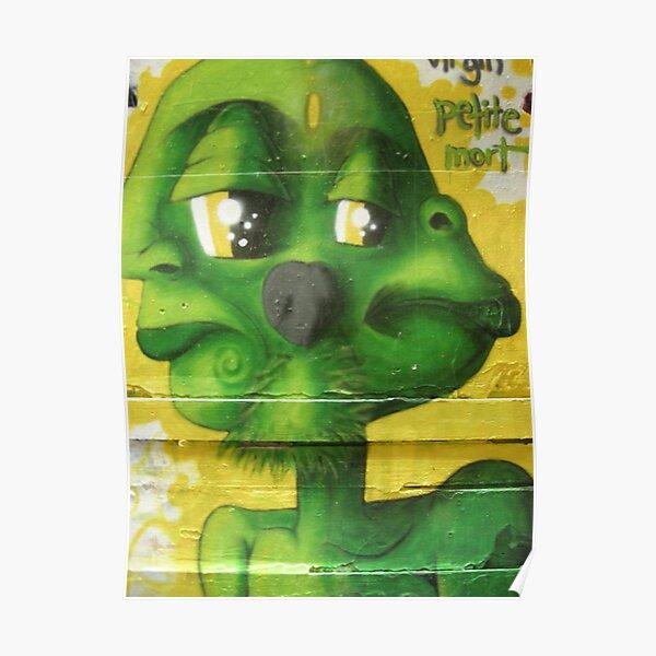 graffiti - green alien face Poster