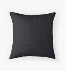 Purple and Black Damask Throw Pillow