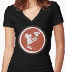 Flat Earth Maps Women's Fitted V-Neck T-Shirt