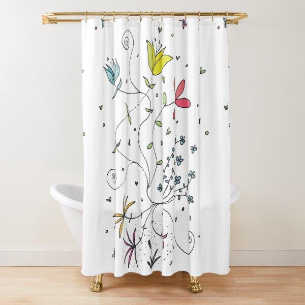 Flowerpower \ by Suzies Sparrow Shower Curtain