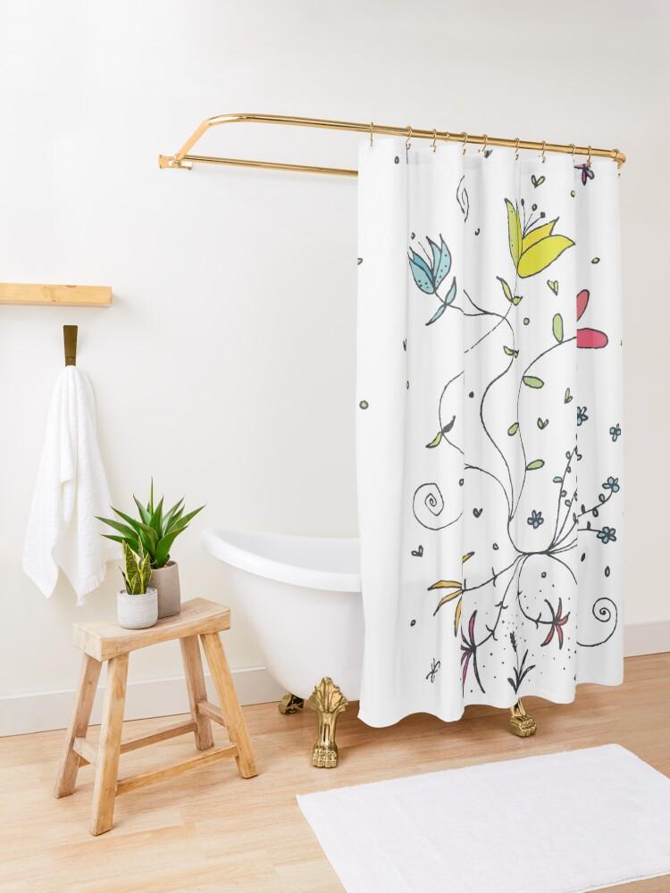 Alternate view of Flowerpower \ by Suzies Sparrow Shower Curtain