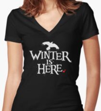 Winter is Here - Small Raven on Black Women's Fitted V-Neck T-Shirt