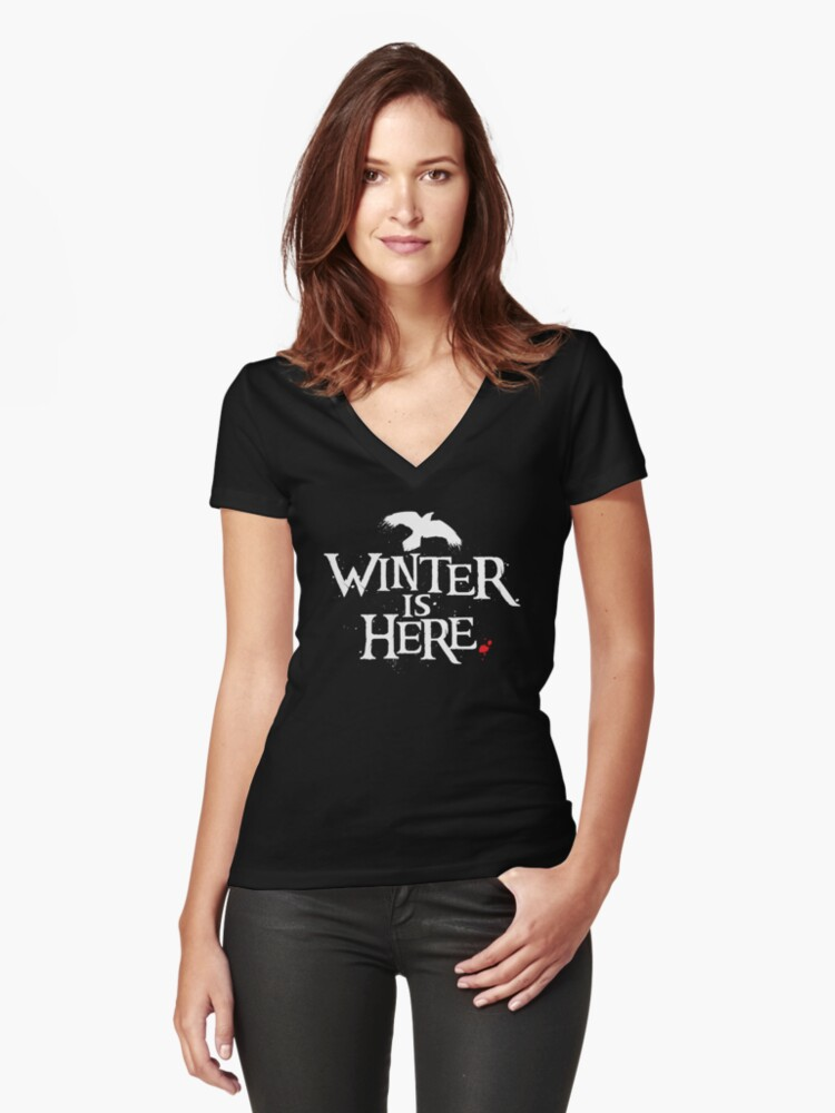 Winter is Here - Small Raven on Black Women's Fitted V-Neck T-Shirt Front