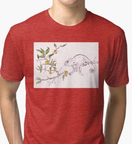 Kei-apple and a Chameleon - Botanical illustration Tri-blend T-Shirt