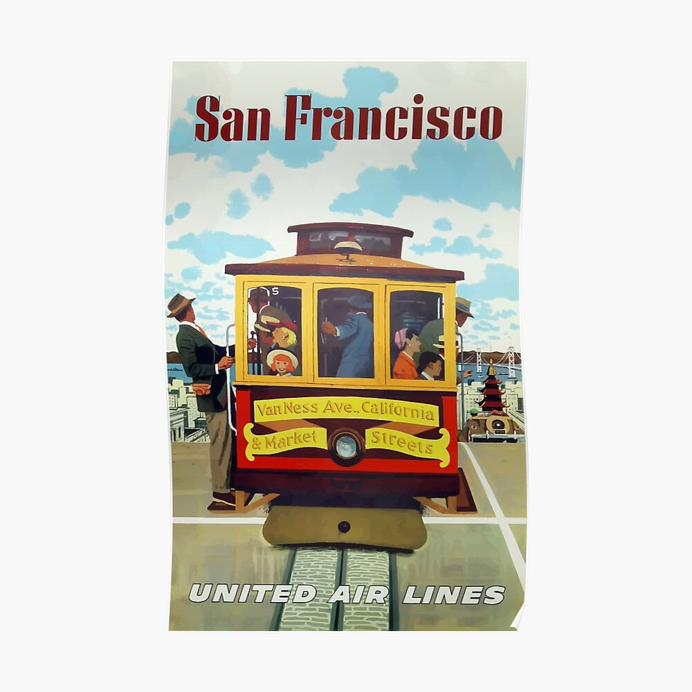 Weinlese-Reise-Plakat San Franciscos United Air Lines Poster