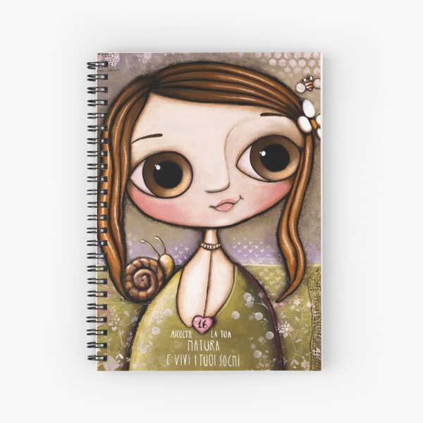 The child with snail and bee in the garden  Spiral Notebook