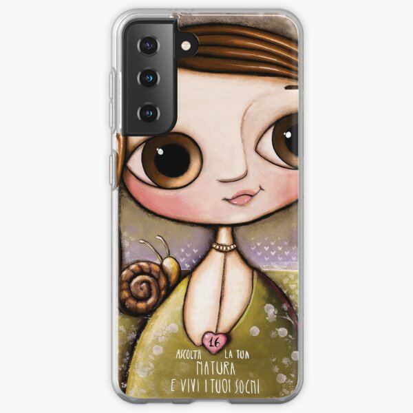 The child with snail and bee in the garden  Samsung Galaxy Soft Case