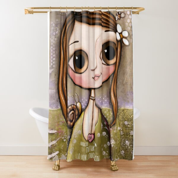 The child with snail and bee in the garden  Shower Curtain