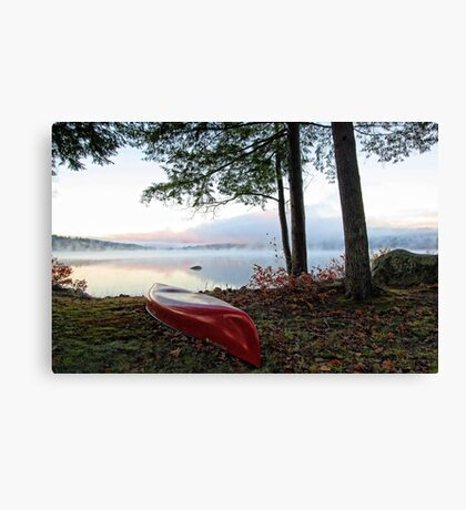 Red OldTown Canoe - Crystal Lake Canvas Print