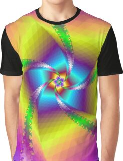 Whirligig in Yellow Blue and Green Graphic T-Shirt