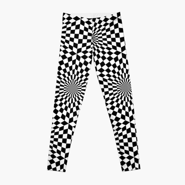 Op art geometric pattern, hypnotic black and white print Leggings