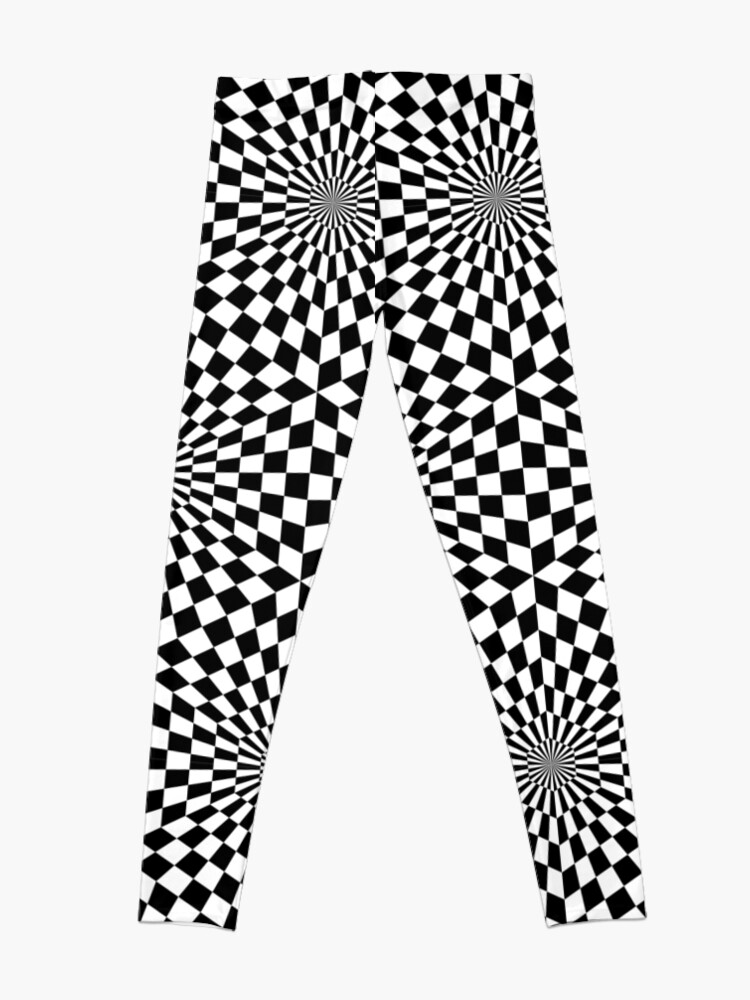 Alternate view of Op art geometric pattern, hypnotic black and white print Leggings