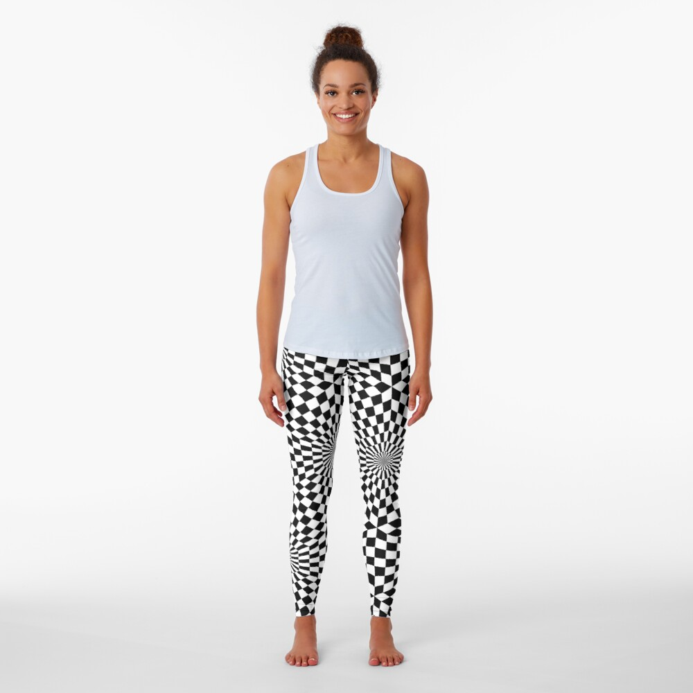 Op art geometric pattern, hypnotic black and white print Leggings