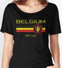 Euro 2016 Football - Belgium (Away Black) Women's Relaxed Fit T-Shirt